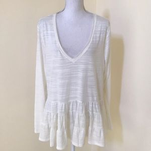 Anthropologie XL ivory drop waist L/S layered top